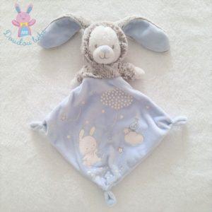 Doudou plat Ours lapin bleu gris luminescent MOTS D'ENFANTS