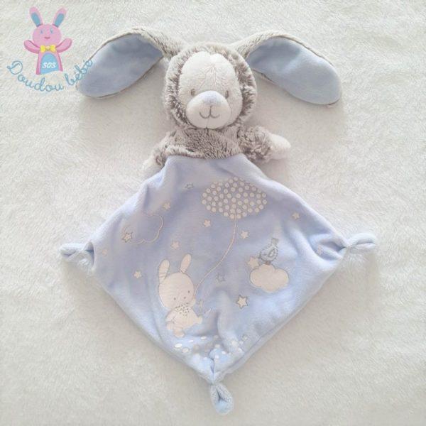 Doudou plat Ours Lapin bleu gris MOTS D'ENFANTS