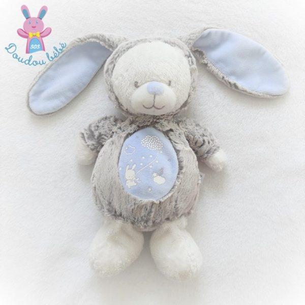 Doudou Lapin gris bleu MOTS D'ENFANTS
