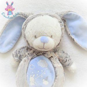 Doudou Ours déguisé en Lapin gris bleu luminescent MOTS D'ENFANTS