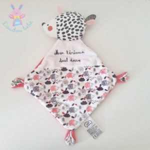 Doudou plat Mon Hérisson tout doux rose et blanc MOTS D'ENFANTS