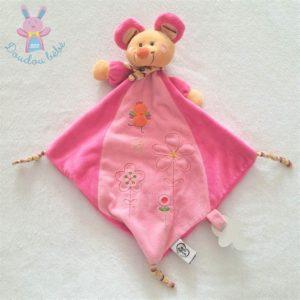 Doudou plat Souris jaune rose fleurs attache tétine MOTS D'ENFANTS