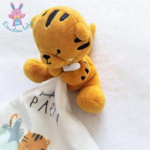 Doudou Tigre orange mouchoir blanc Jungle friends party SIMBA