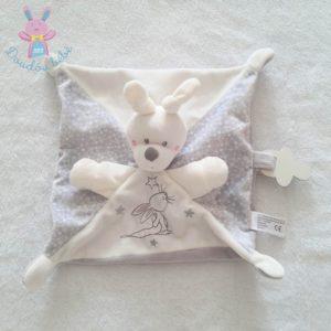Doudou plat Lapin gris blanc étoiles attache tétine SIMBA