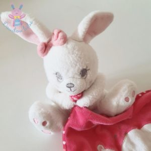 Doudou Lapin blanc rose mouchoir pois Happy Night SIMBA