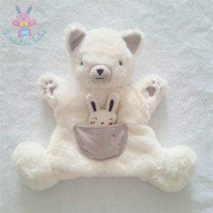 Doudou Chat Renard marionnette blanc gris poche Lapin SIMBA