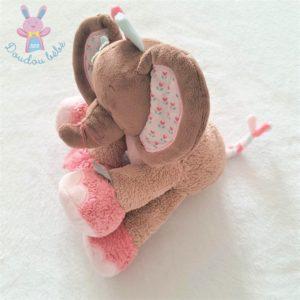 Doudou éléphant Charlotte marron rose beige fleurs NATTOU
