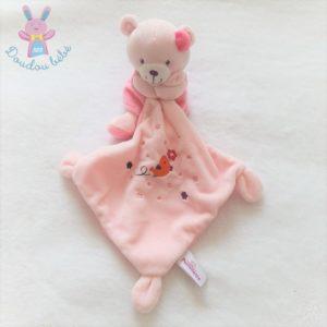 Doudou Ours robe mouchoir rose oiseau fleurs POMMETTE