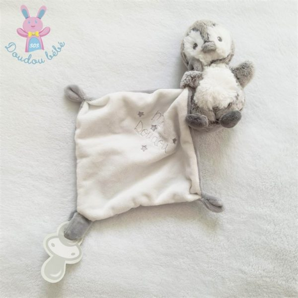 Doudou Pingouin mouchoir blanc gris TEX