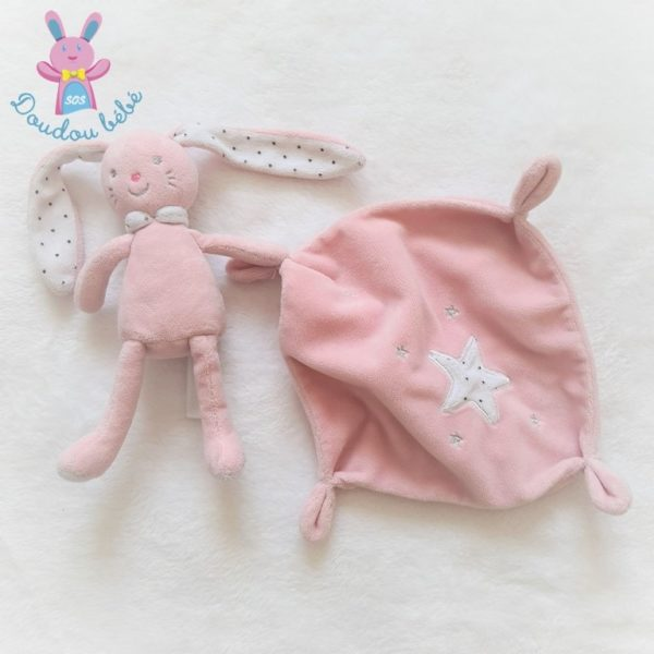 Doudou Lapin mouchoir rose TEX
