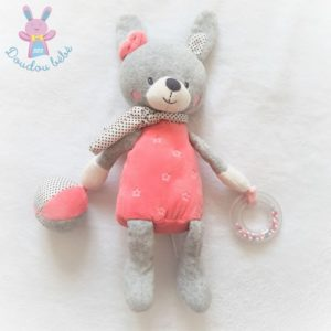 Doudou Lapin d'activités rose gris blanc anneau grelot jouet bébé TEX