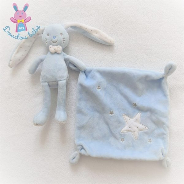 Doudou Lapin bleu mouchoir étoiles TEX