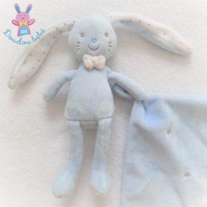 Doudou Lapin bleu blanc mouchoir étoiles argent TEX BABY