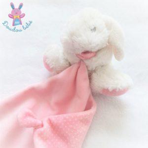 Doudou Lapin blanc rose mouchoir à pois TEX BABY