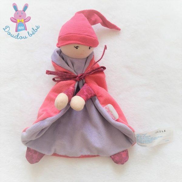 Doudou Poupée Lutin rose mauve COROLLE