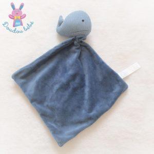 Doudou Baleine grelot rayé bleu et blanc mouchoir ZEEMAN