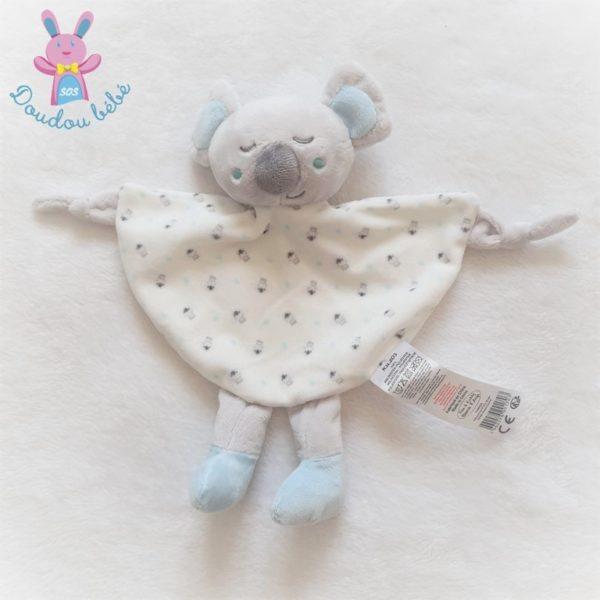 Doudou plat Koala blanc bleu gris TOM & KIDDY