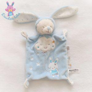 Doudou plat Ours déguisé en Lapin bleu blanc étoiles nuage MAX & SAX