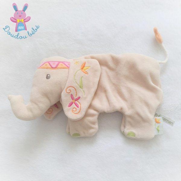 Doudou plat éléphant beige Indou Prémaman