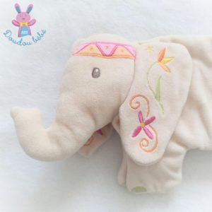 Doudou plat éléphant beige Indou fleurs papier froissé Prémaman