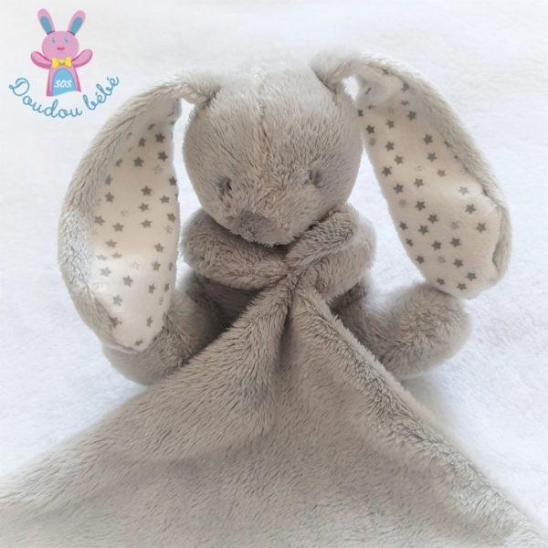 Doudou Lapin gris blanc étoiles mouchoir VERTBAUDET SIMBA