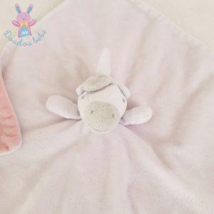 Doudou plat Licorne blanc rose et gris SASS & BELLE