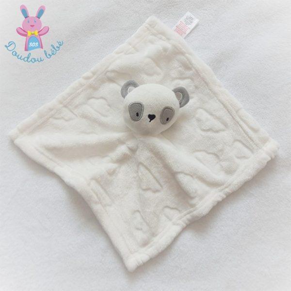 Doudou plat Ours Panda polaire blanc et gris PRIMARK