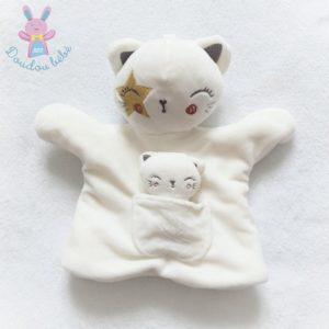 Doudou marionnette Chat et poche bébé blanc étoile SIMBA