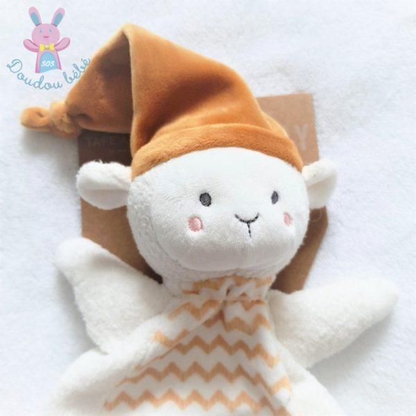Doudou plat Mouton blanc orange moutarde bonnet TAPE A L'OEIL TAO