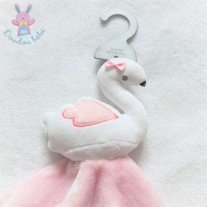 Doudou plat Cygne rose et blanc cœurs PRIMARK