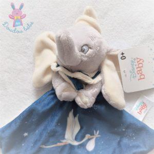 Doudou plat éléphant Dumbo bleu gris blanc cigogne étoiles DISNEY