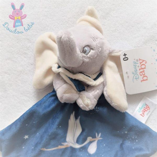 Doudou plat éléphant Dumbo bleu gris blanc cigogne DISNEY