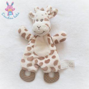 Doudou plat Girafe blanc marron crème dentition ACTION