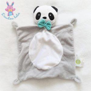 Doudou plat Panda gris blanc noir nœud vert BABY CALIN