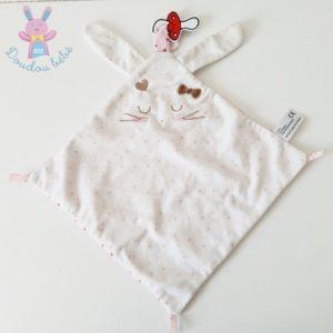 Doudou plat Lapin blanc rose étoiles attache tétine CAD