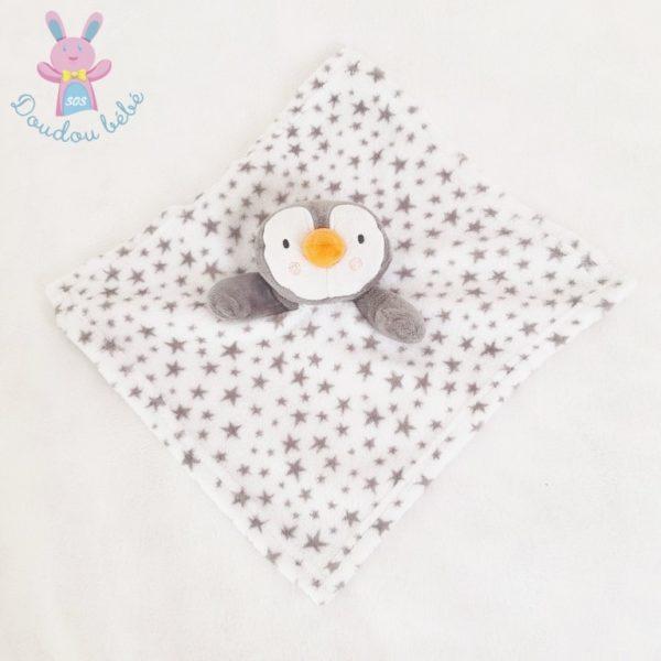 Doudou plat Pingouin polaire gris blanc étoiles BABYGRO