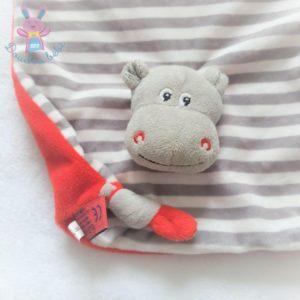 Doudou plat Hippopotame rouge gris blanc rayé LES PETITES MARIES