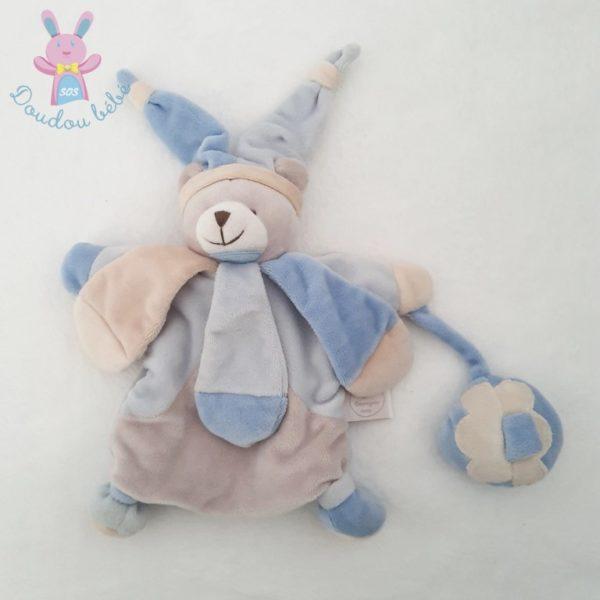 Ours collector marionnette beige bleu poudré DOUDOU ET COMPAGNIE