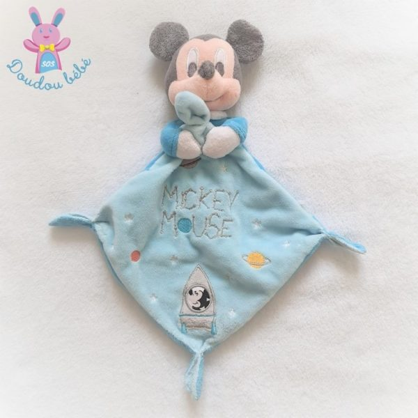 Doudou plat Mickey mouse bleu fusée étoiles DISNEY