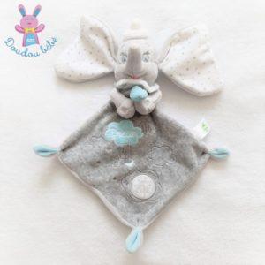Doudou plat éléphant Dumbo gris blanc étoiles Big dream DISNEY