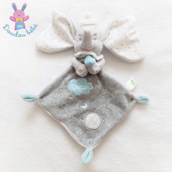 Doudou plat éléphant Dumbo gris blanc DISNEY