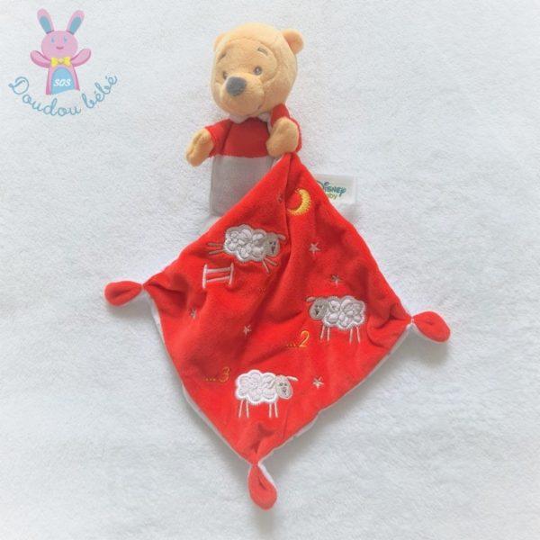 Doudou Winnie mouchoir gris blanc rouge 123 moutons étoiles DISNEY