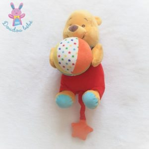 Doudou Winnie l'Ourson musical rouge ballon coloré DISNEY