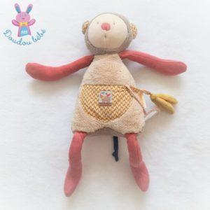 Doudou Singe d'activités Les Papoum beige rouge MOULIN ROTY