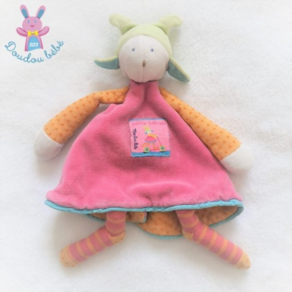 Doudou plat Colette et Trottinette rose orange MOULIN ROTY