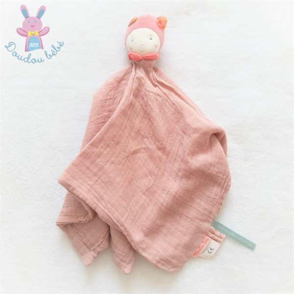 Doudou plat Poupée lange rose Mademoiselle et Ribambelle MOULIN ROTY