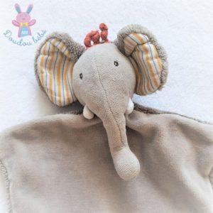 Doudou plat éléphant gris dentition Les Papoum MOULIN ROTY