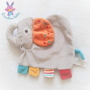 Doudou plat éléphant gris orange coloré SIMBA KIABI