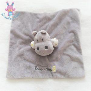 Doudou plat Hippopotame gris blanc Love Idea OBAIBI