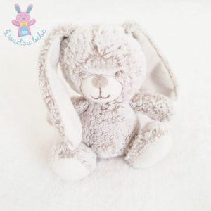 Doudou Lapin blanc beige chiné 15 cm TEX BABY